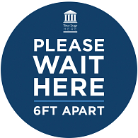 """Wait Here"" Adhesive Vinyl Graphic for Smooth Floors (4-Pack)"