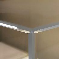 Corner of acrylic vitrine with beveled edges