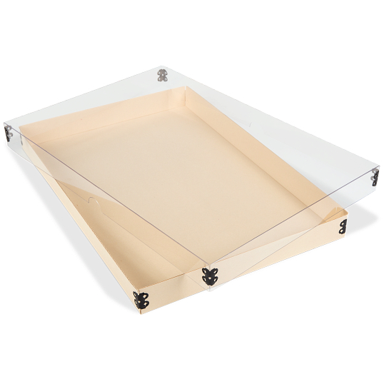 Gaylord Archival® Light Tan E-flute Clear Lid Master Box for Modular Box System