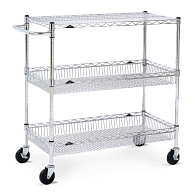 3-Shelf Steel Wire Basket Utility Cart