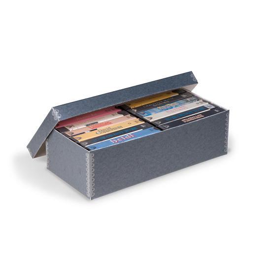 Gaylord Archival® Blue/Grey Barrier Board Shallow Lid Videocassette Box