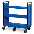 Gryphon® 3-Tier Reinforced Flat Shelf Book Truck in Blue