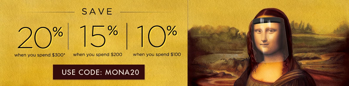 Use code MONA20 to get 20% off of $300, 15% off of $200 and 10% off of $100!*