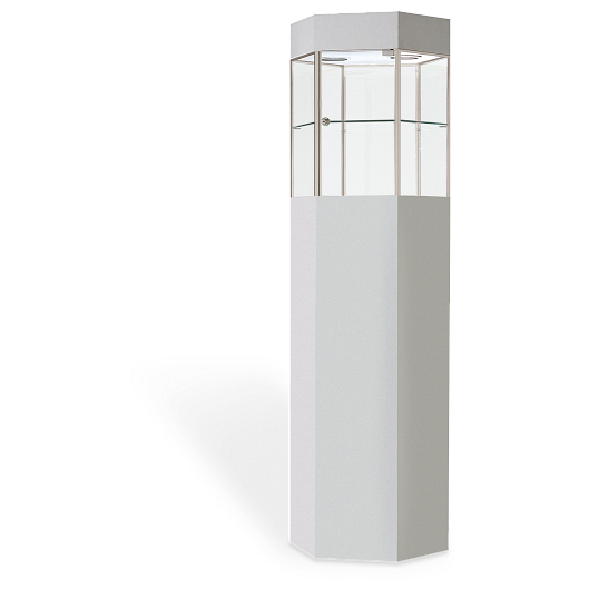 Fineline™ Hexagonal Tower Exhibit Case