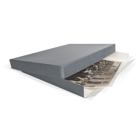Gaylord Archival® Blue/Grey Drop-Front Newspaper & Oversize Print Box