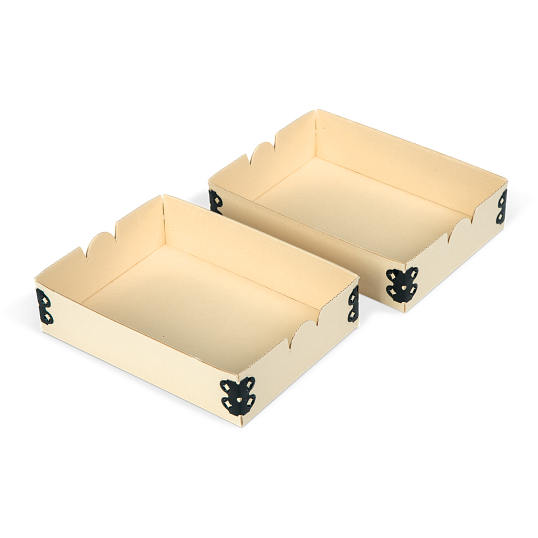 "Gaylord Archival® Light Tan E-flute 4 3/8 x 6"" Internal Trays for Modular Box System (2-Pack)"