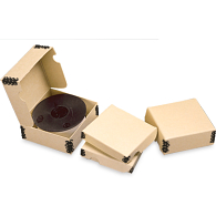 Gaylord Archival® Tan Barrier Board Clamshell 35mm Microfilm Reel Boxes (100-Pack)