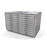 Gaylord Archival® Extra-Large 10-Drawer Locking Horizontal Flat File