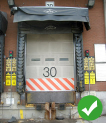 Loading dock with green check mark