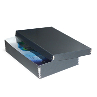 Gaylord Archival® Blue/Grey Barrier Board Shallow Lid Multipurpose Box with DuraCoat™ Acrylic Coating