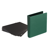 "1 1/2"" D-Ring Buckram Photo Preservation Album with 50 Black Pages & Protectors"