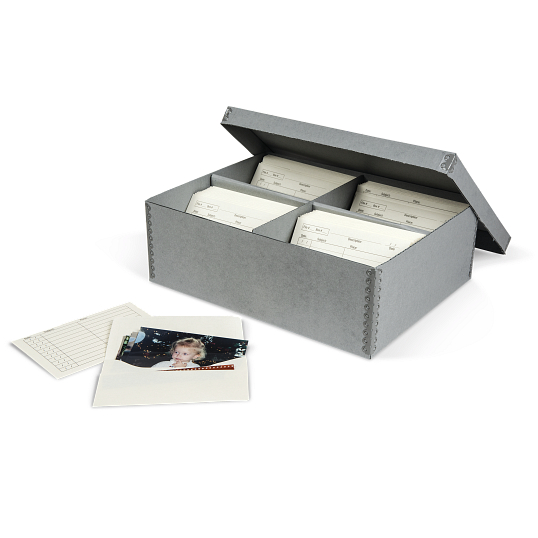 Gaylord Archival® Blue B-flute Shallow Lid High-Capacity Photo Box with Envelopes