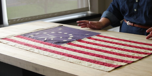 American flag on table