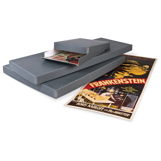Gaylord Archival® Blue/Grey Barrier Board Drop-Front Sports Poster Box