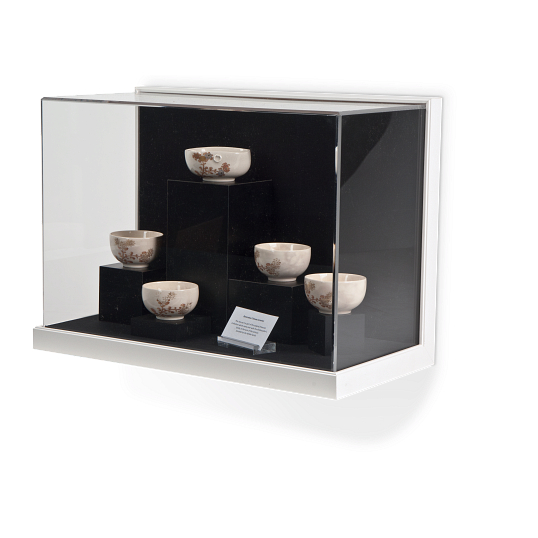 Gaylord Archival® Little Gem Original White Wall-Mount Exhibit Case with Linen-Wrapped Interior